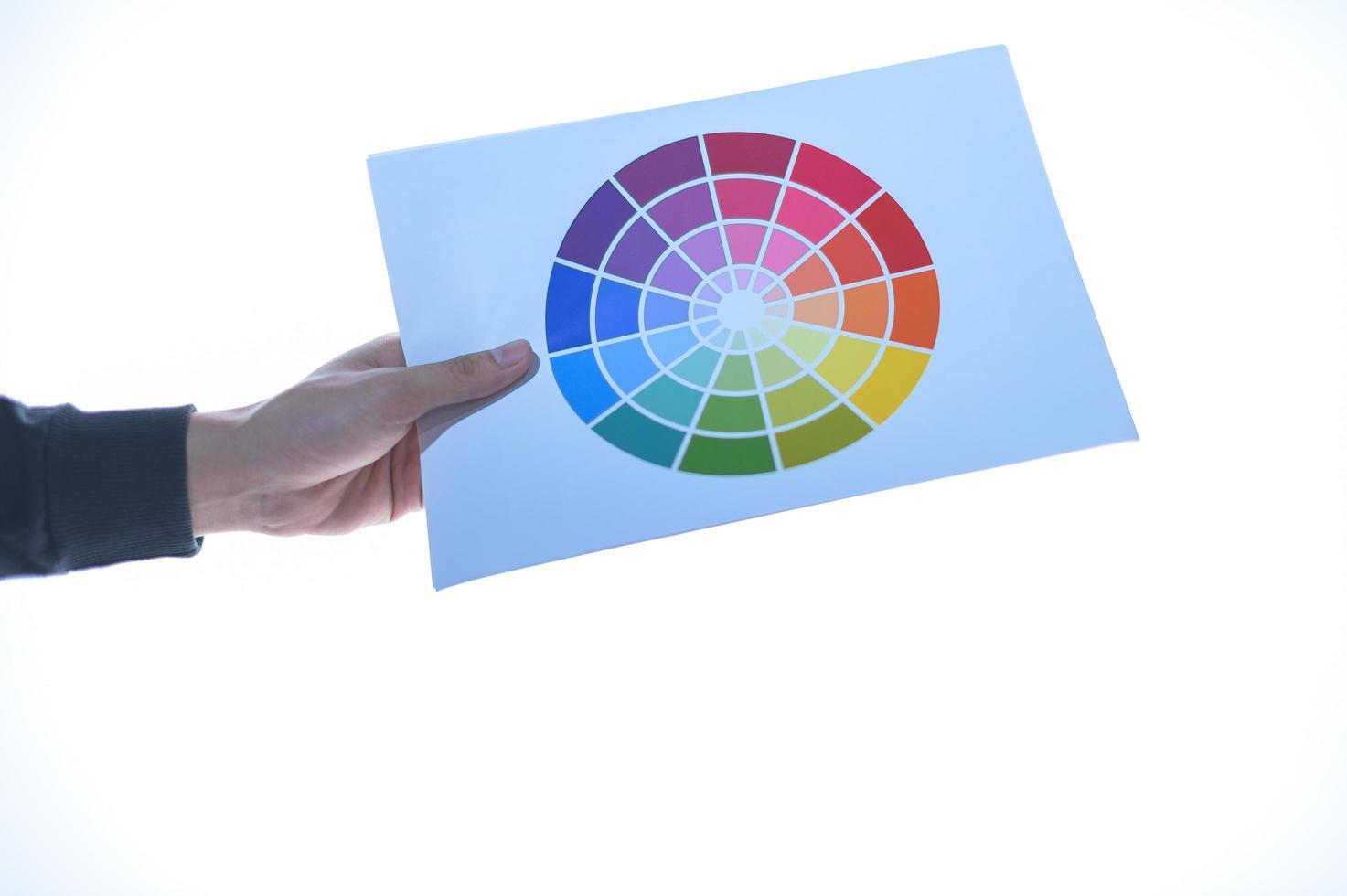 hand som håller ett färgtest foto