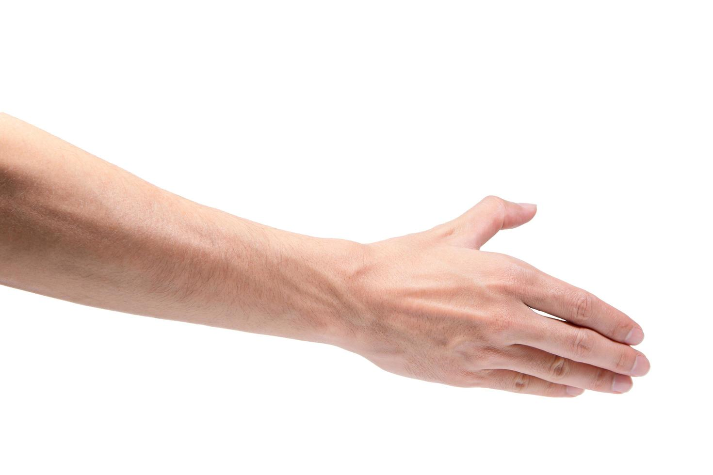 hand på vit bakgrund foto