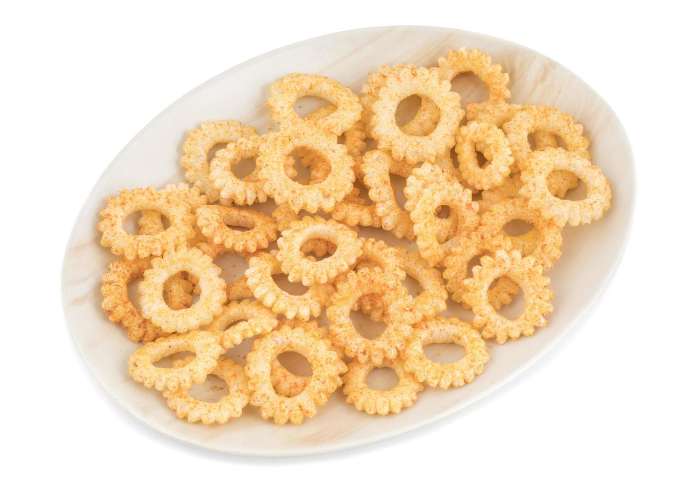 tallrik med runda snacks foto