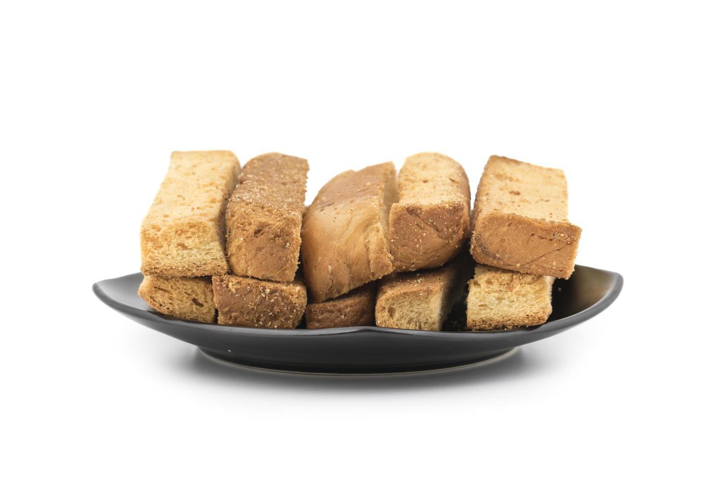 tallrik med rostat bröd foto
