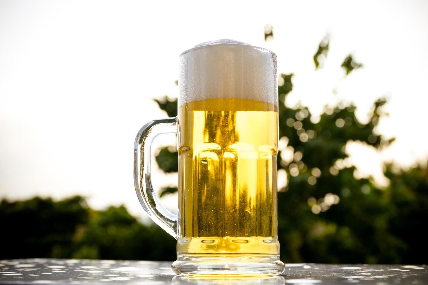 en pint öl på naturlig trädgränsbakgrund foto