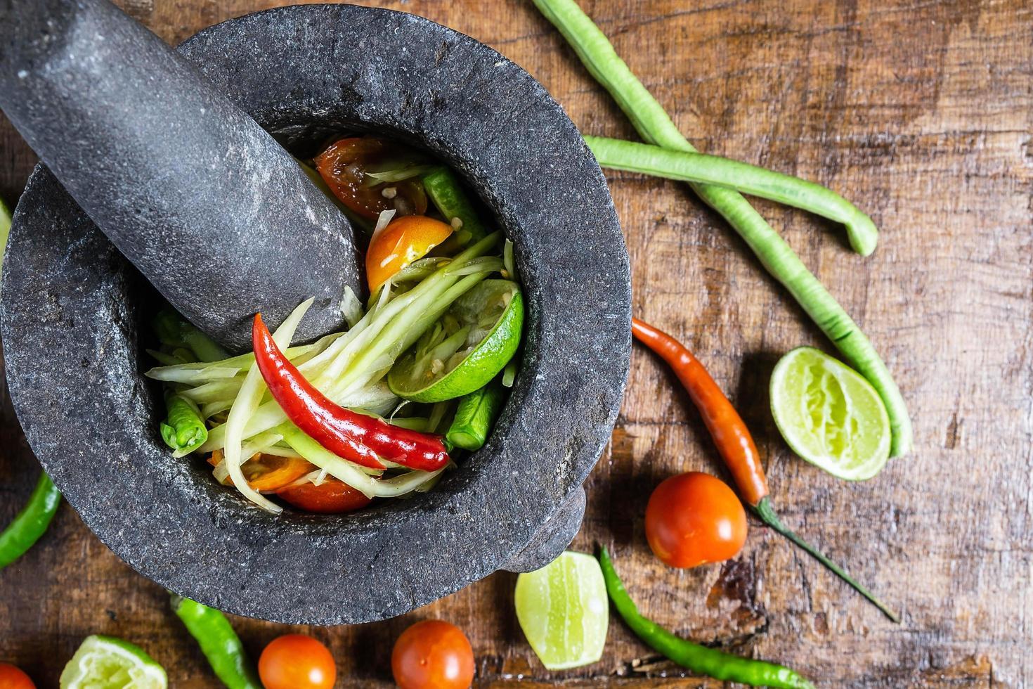 ovanifrån av salsa foto