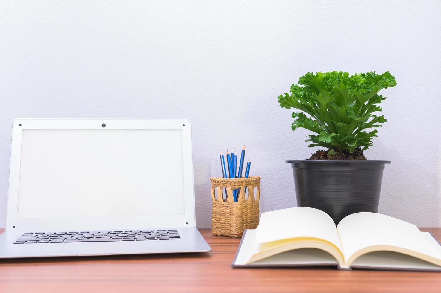 bärbar dator och blomma på skrivbordet foto