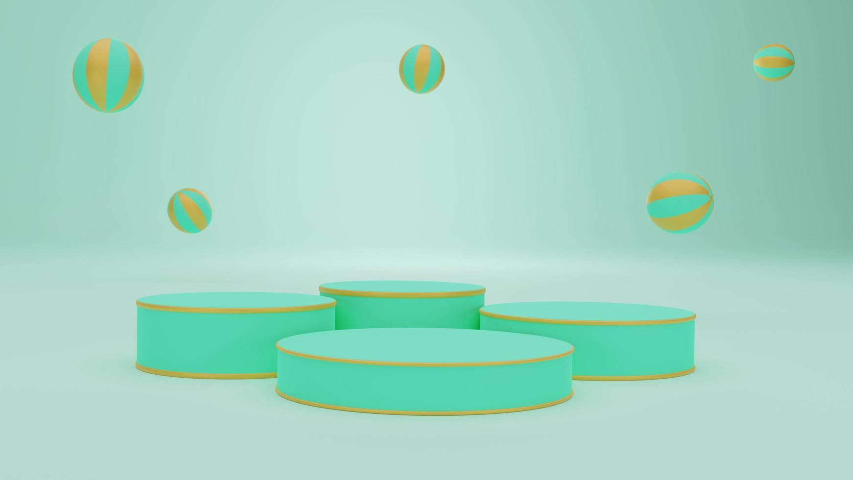 gröna podier med guld och gröna bollar foto