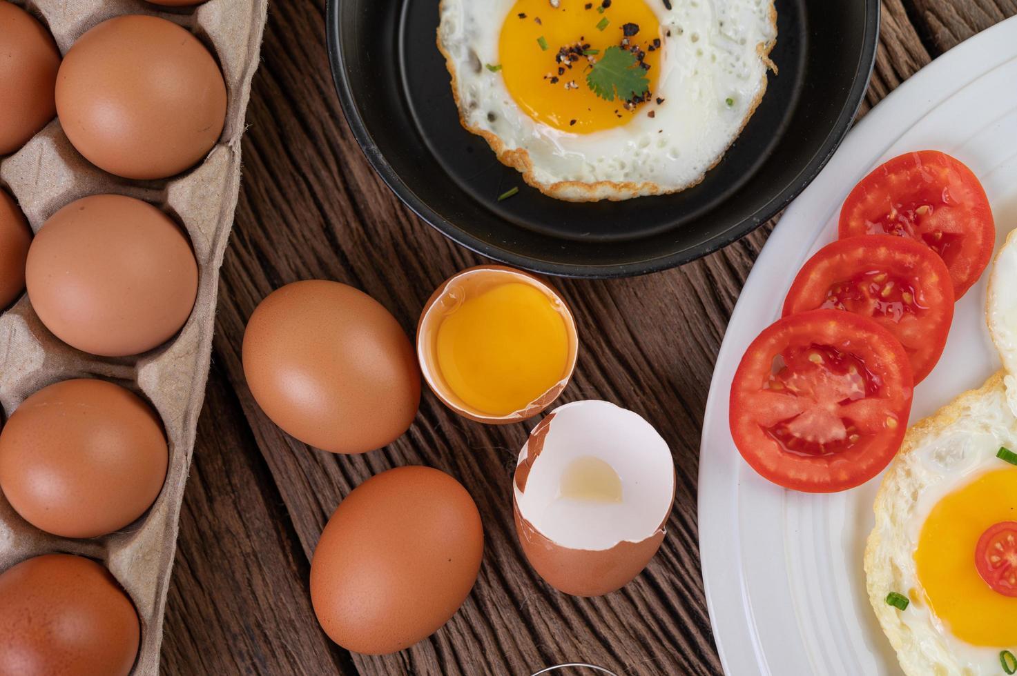 stekt ägg frukost foto
