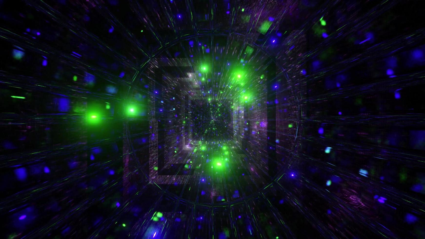 glödande rymdpartiklar sci-fi tunnel 3d illustration bakgrundsbild foto