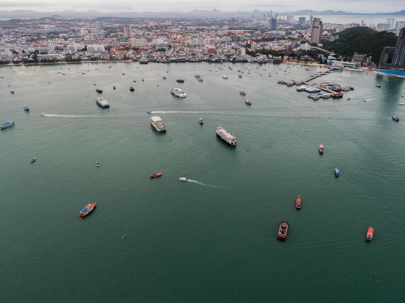 Flygfoto över Pattaya Beach, Thailand foto