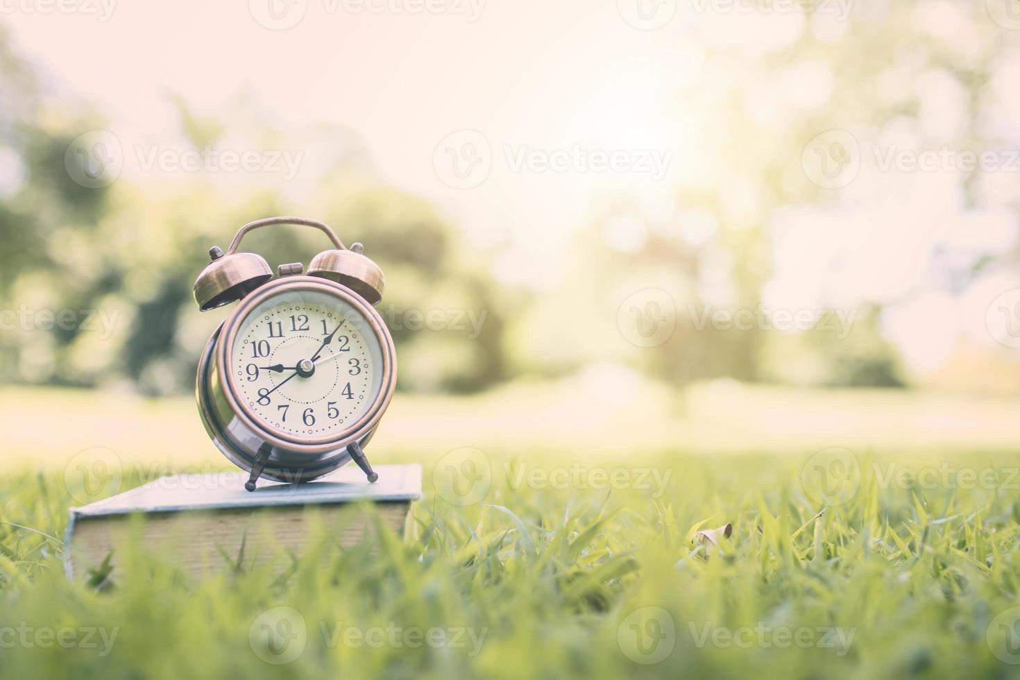 väckarklocka på en bok i park foto