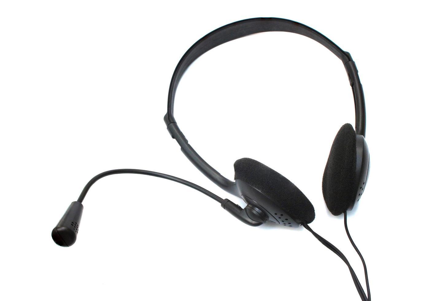 svart headset på vitt foto