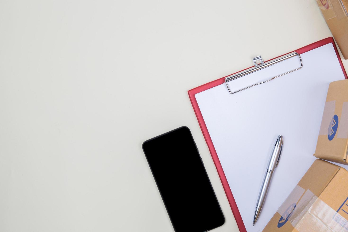 platt låg, ovanifrån kontorsbord skrivbord foto