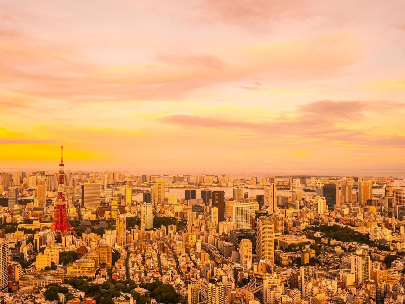 Flygfoto över Tokyo stad vid solnedgången foto