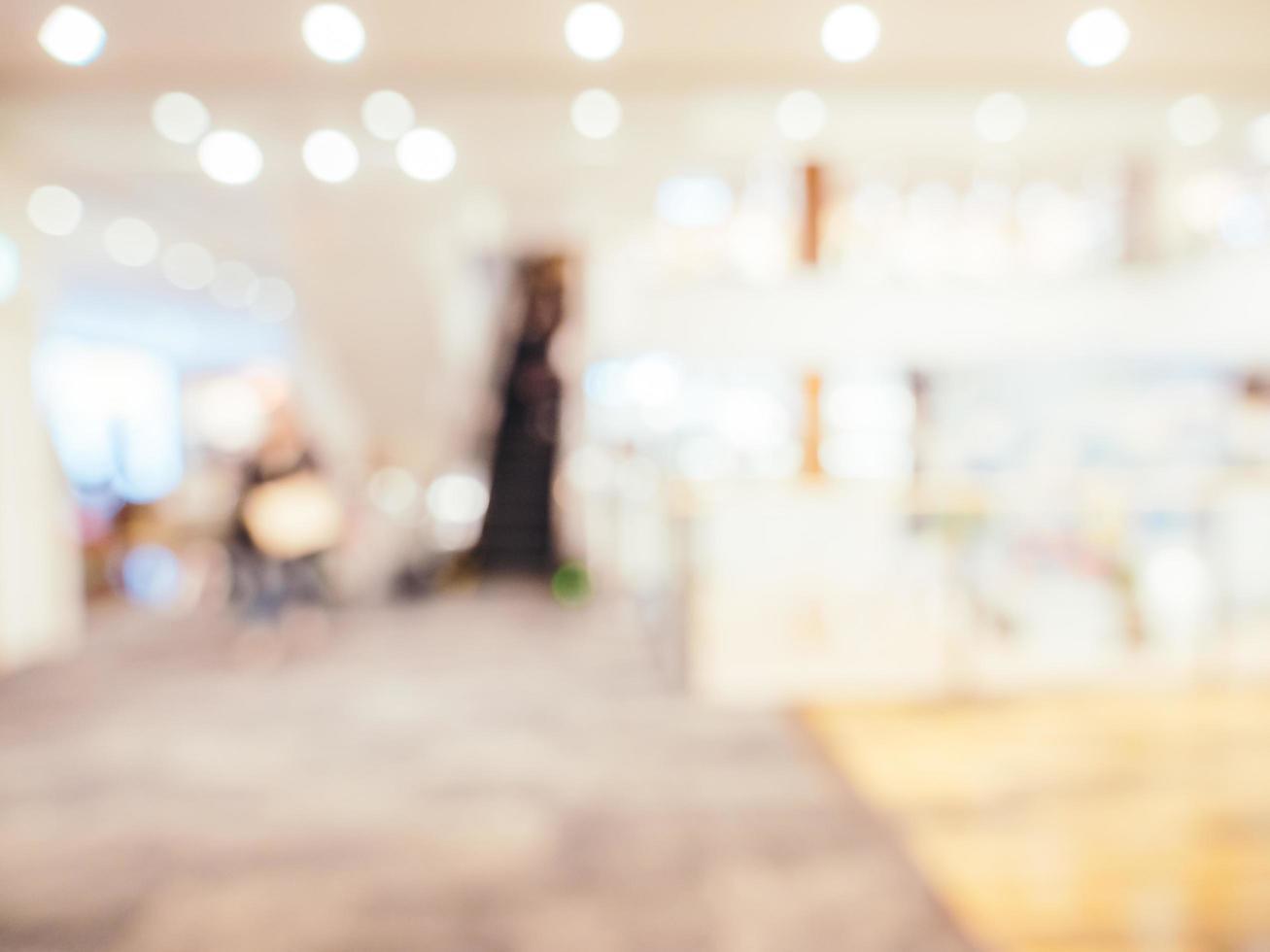 abstrakt oskärpa och defokuserad shopping mall bakgrund foto