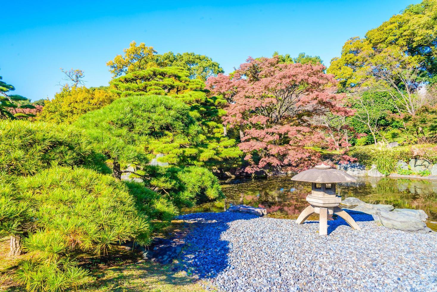 trädgård av det kejserliga palatset i tokyo city, japan foto