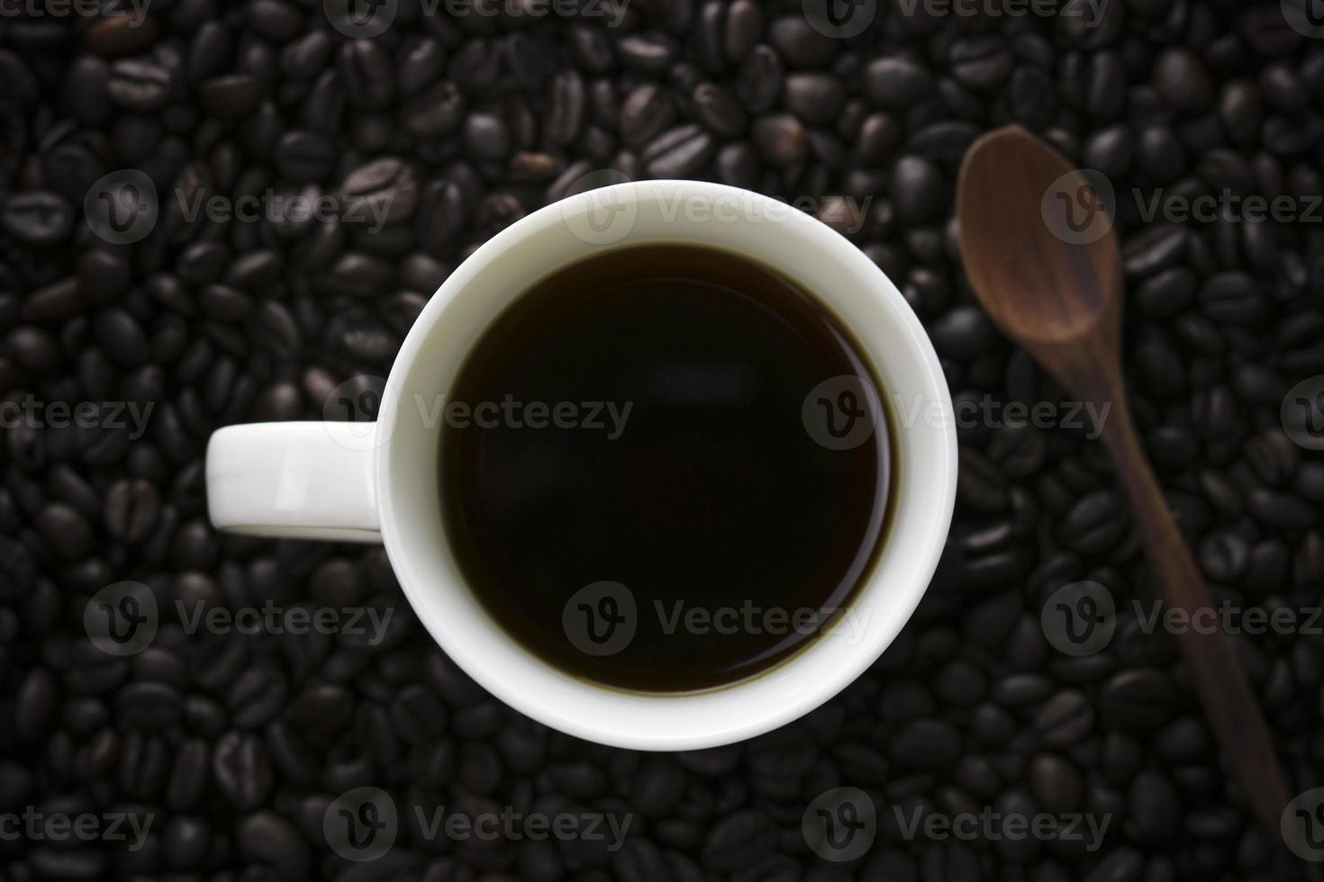 en kopp kaffe från ovanifrån foto