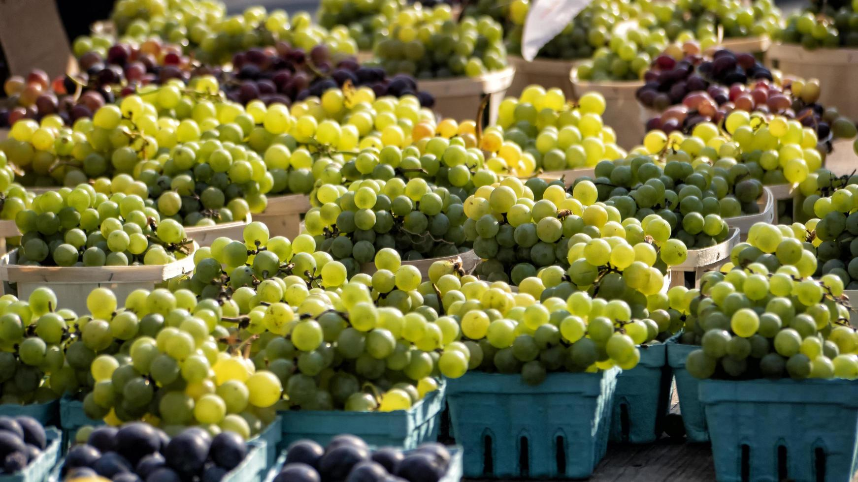 olika färger av druvor till salu på marknaden foto