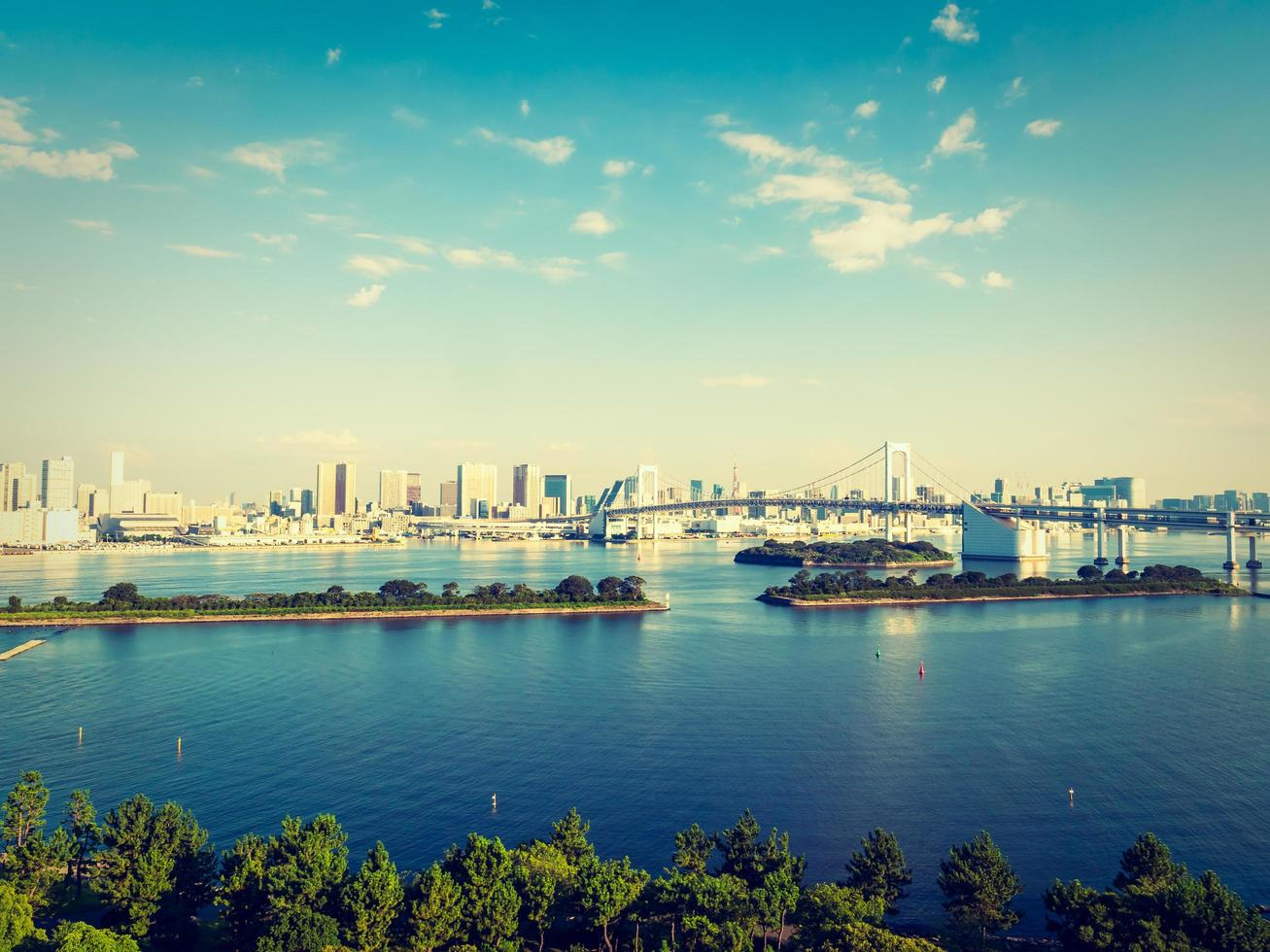 vacker stadsbild med regnbågsbro i tokyo stad, japan foto