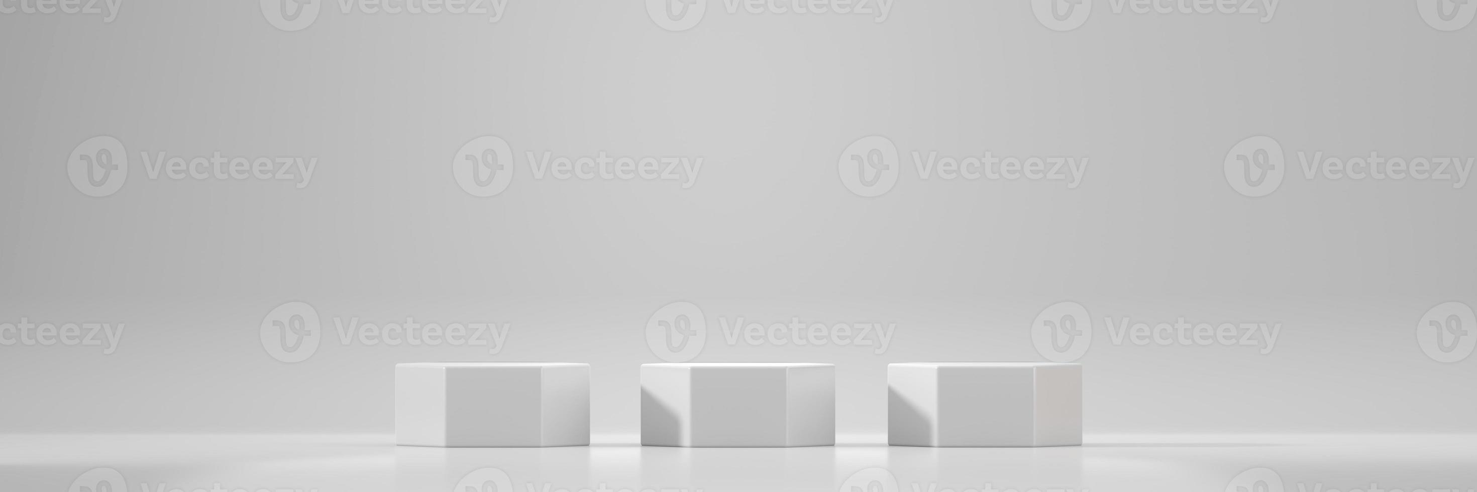 vit sexkant scen podium plattform mockup foto