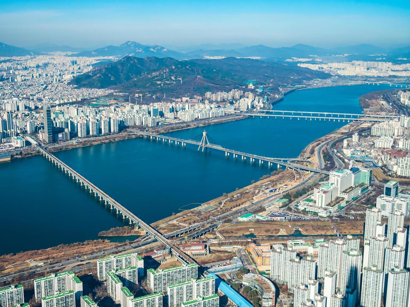 Flygfoto över staden Seoul, Sydkorea foto