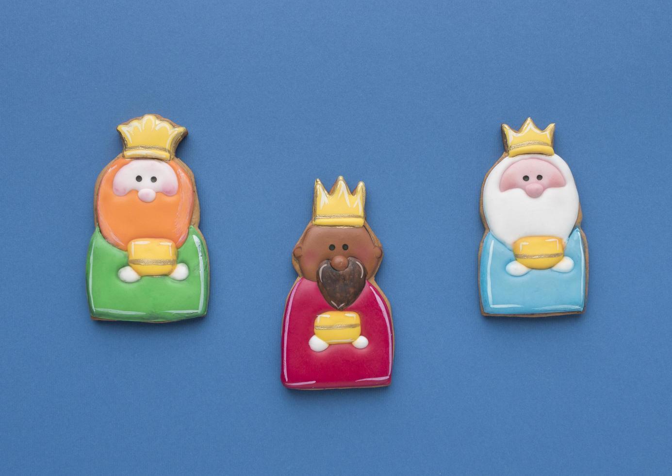 tre kungar kakor för epiphany dag foto