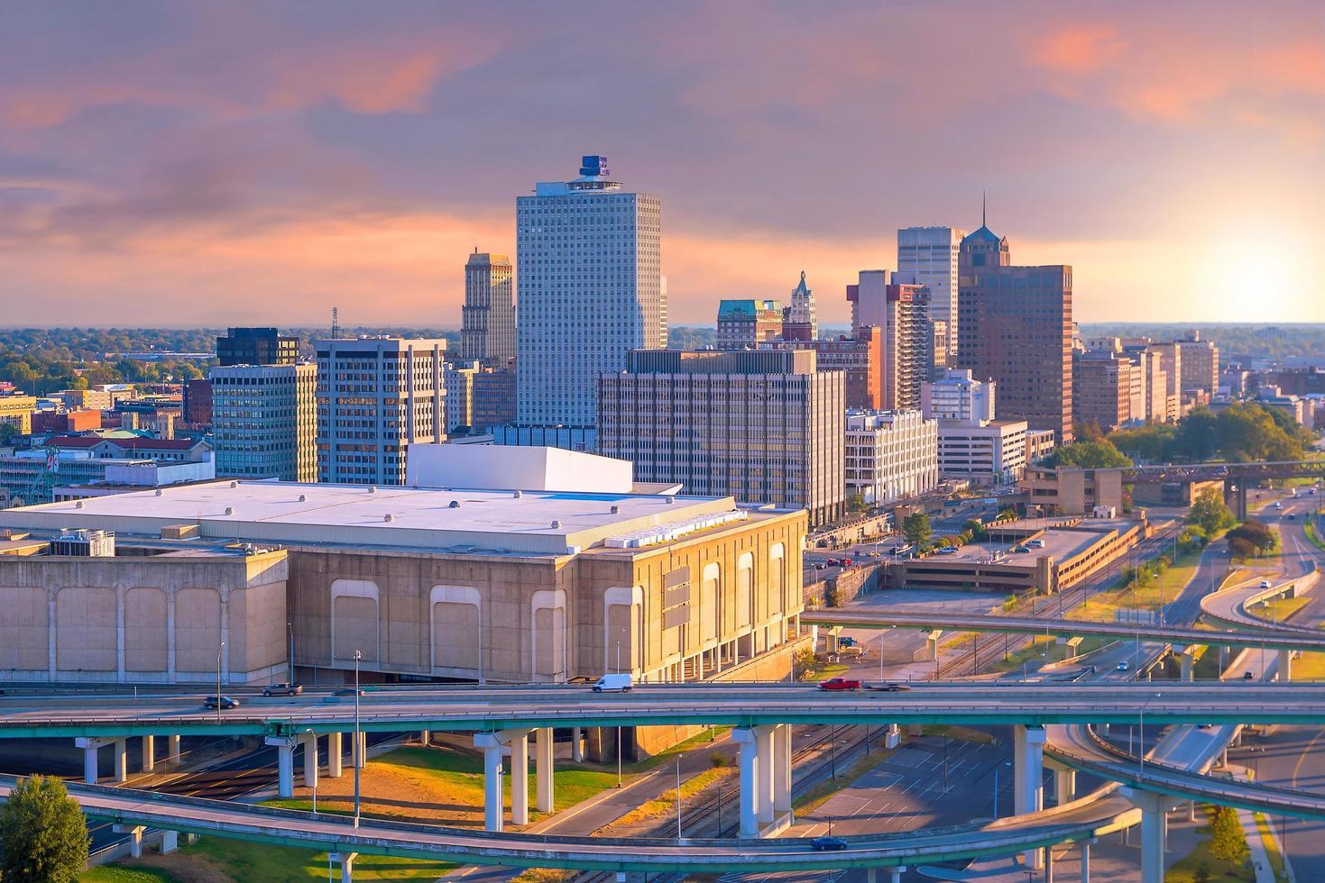Flygfoto över centrala Memphis foto