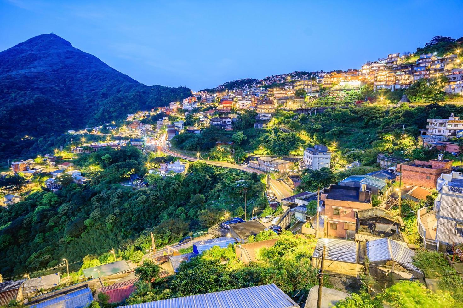 Taipei, Taiwan 2017-- Jiufen Village en bergsby i Taipei som är känd för tehus foto