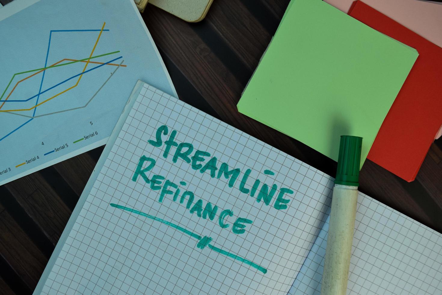 effektivisera refinansiering skriven på bok isolerad på träbord foto