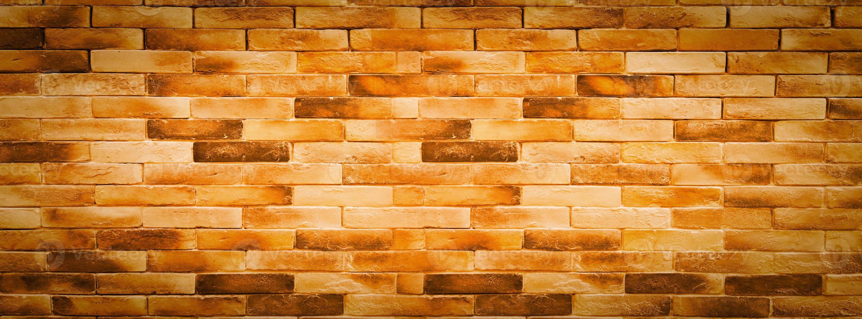 horisontell orange tegelvägg bakgrund foto