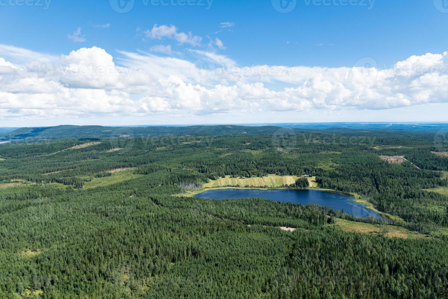 Flygfoto över ett skogsmark i sverige med en sjö i form av ett fotavtryck foto