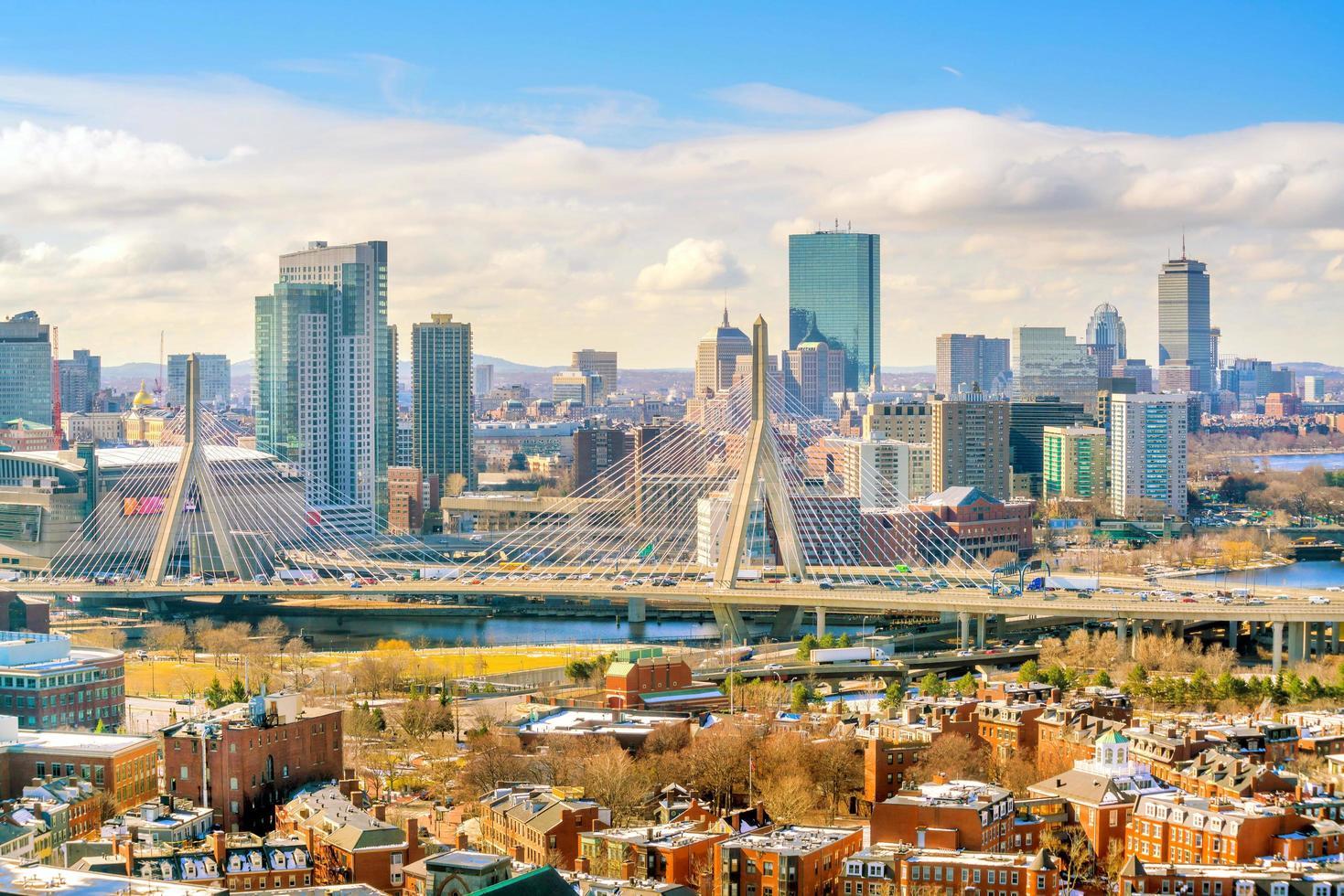 skyline av boston i massachusetts, usa foto