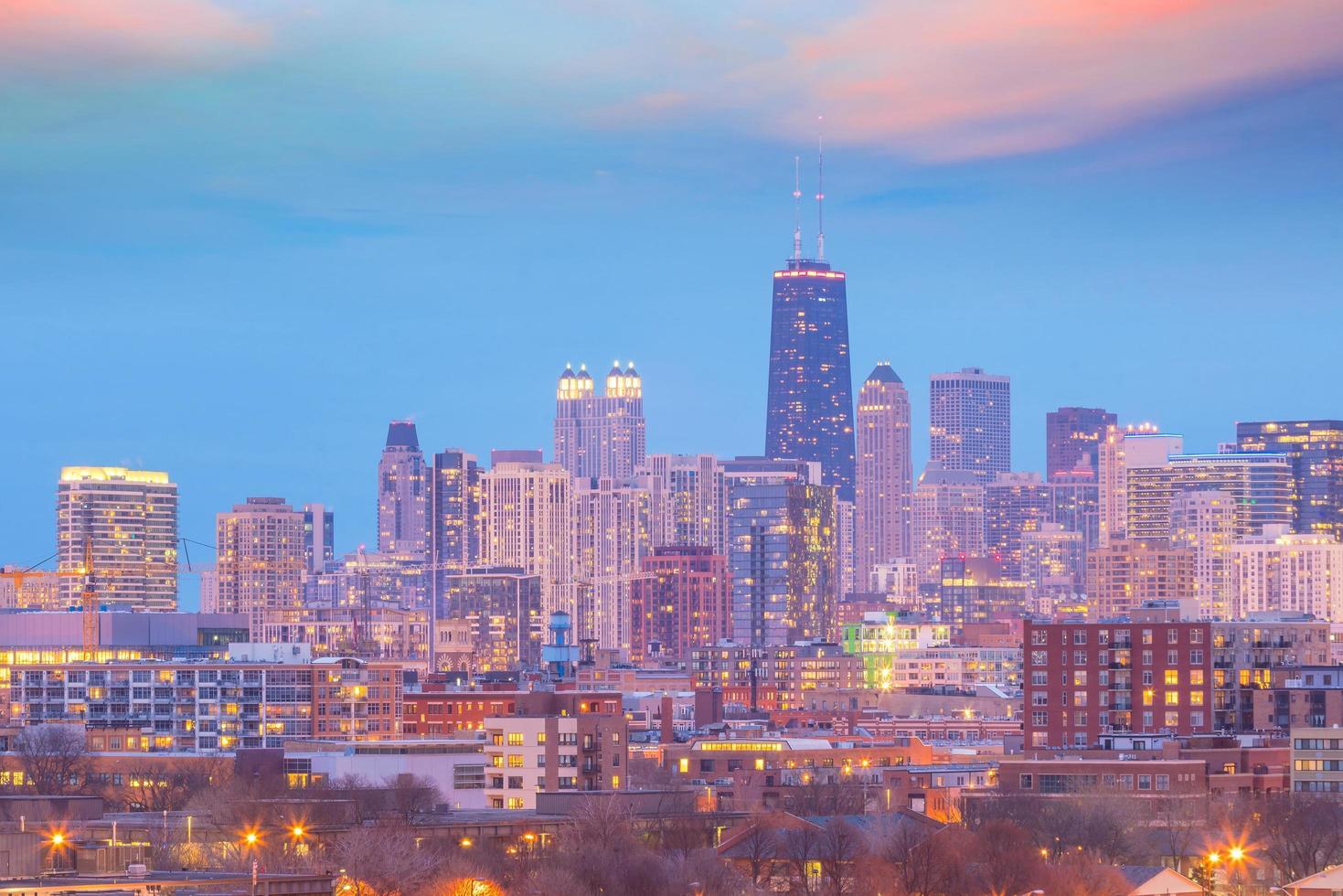 downtown Chicago skyline vid solnedgången Illinois foto