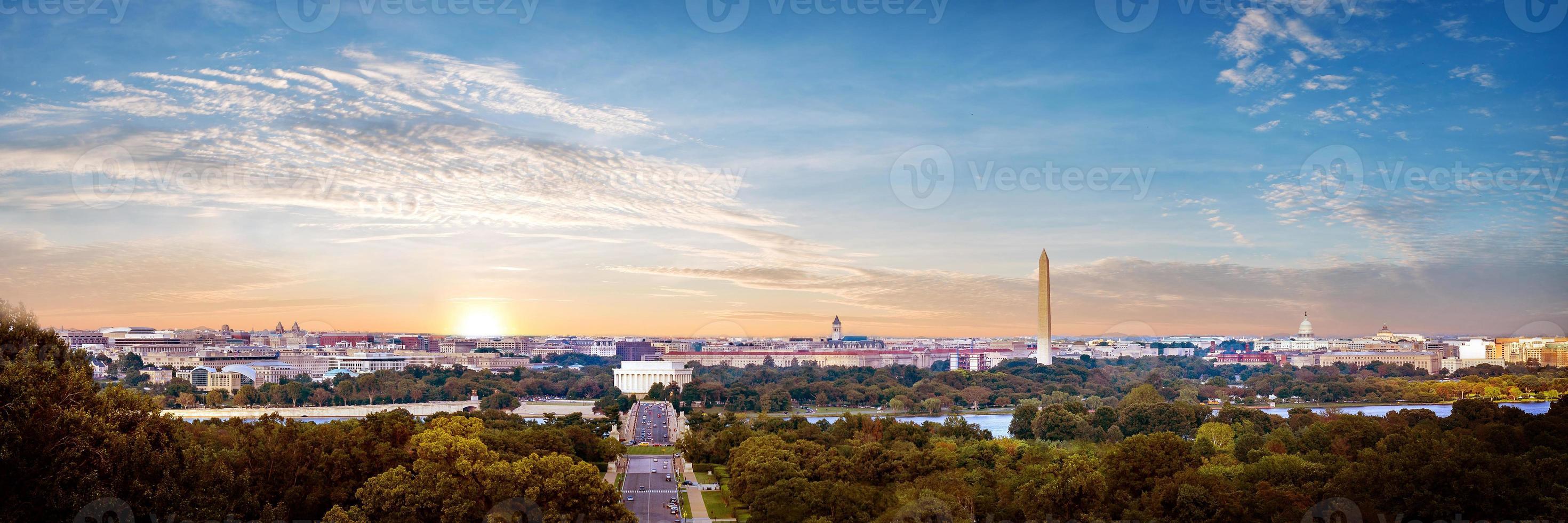 panoramautsikt över washington dc skyline, washington dc, usa foto