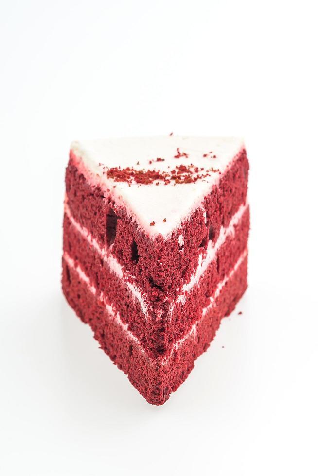 röd sammetkaka isolerad på vit bakgrund foto