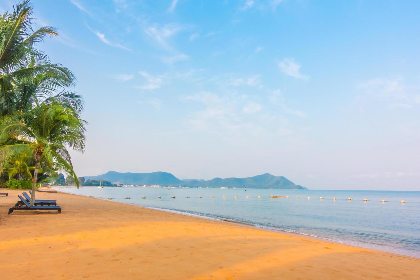 vacker strand och hav med palmträd foto