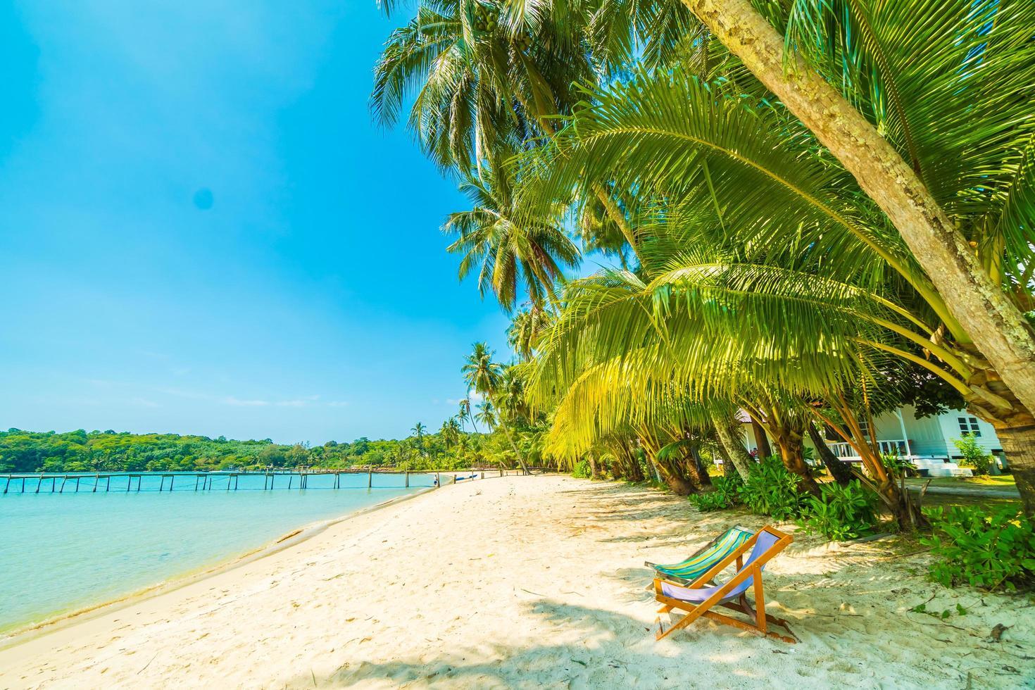 stol på den vackra tropiska stranden och havet foto