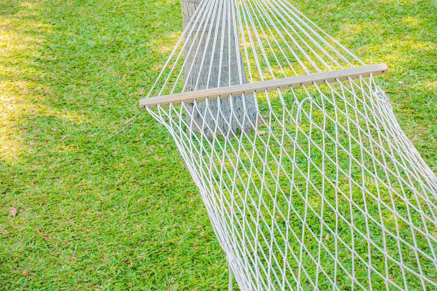 tom hängmatta i trädgården foto