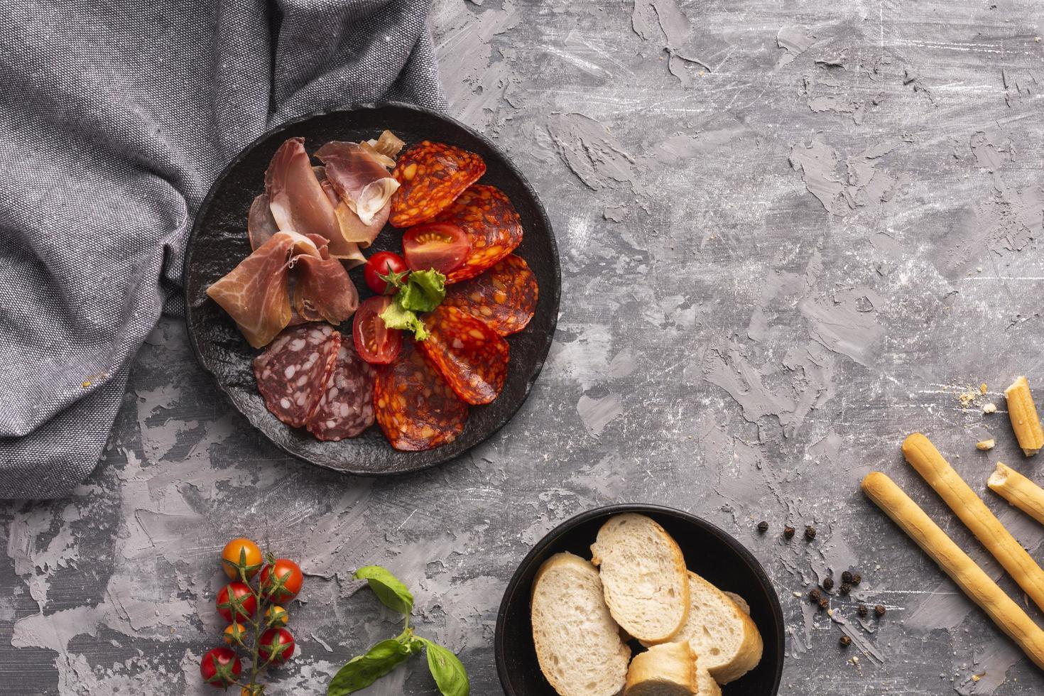 ovanifrån kött koncept med kopia utrymme foto