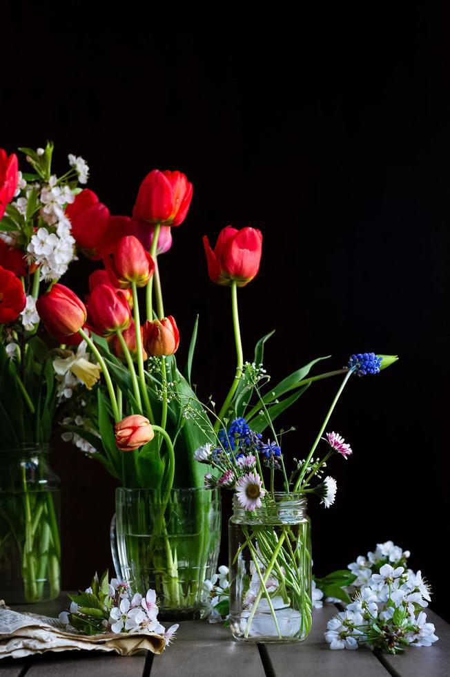 stilleben med buketter av röda tulpaner, fält tusenskönor, muscaris i glasburkar, körsbärsblommor på träbord på mörk bakgrund foto