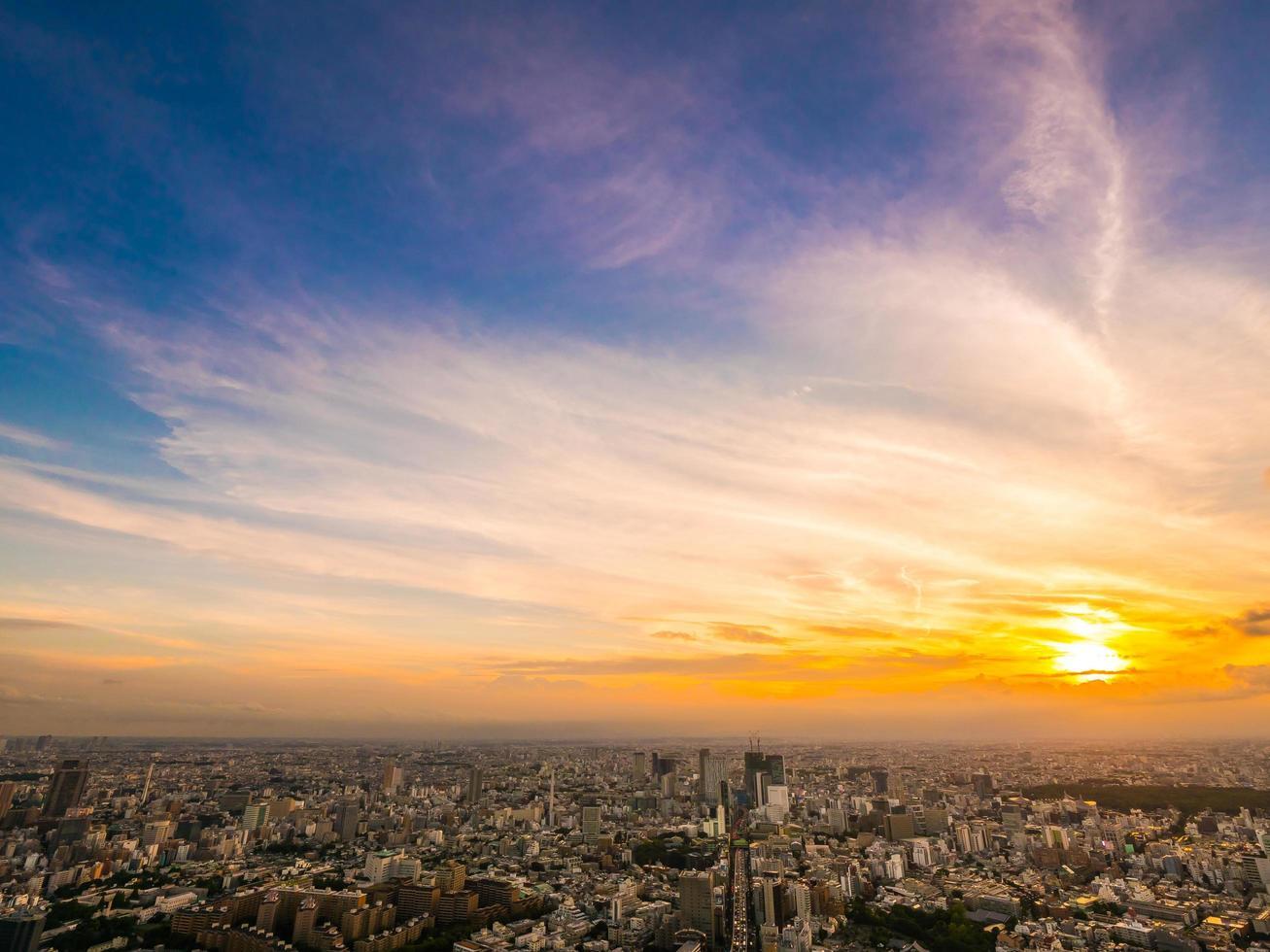 Tokyo stad vid solnedgången foto