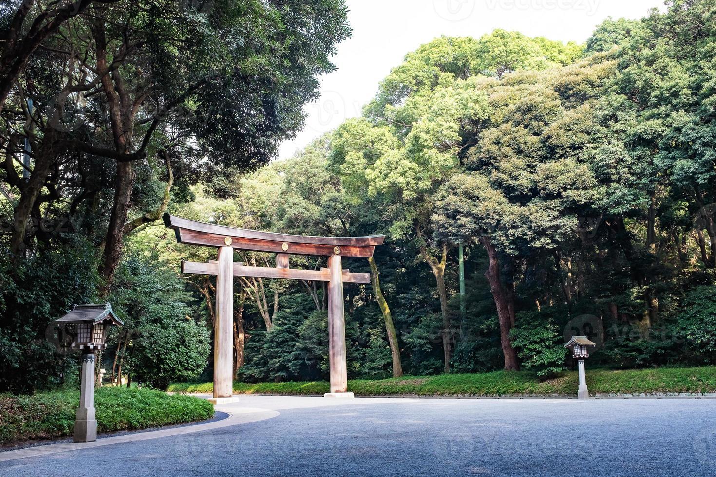 trä torii gateway vid shinto-helgedomen, meiji-jingu i tokyo, japan foto