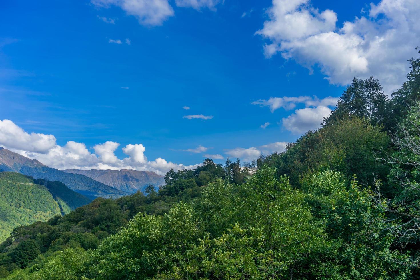 landskap av berg och träd mot en molnig blå himmel foto
