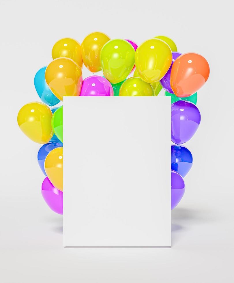mockup av tom ram med ballonger bakom foto