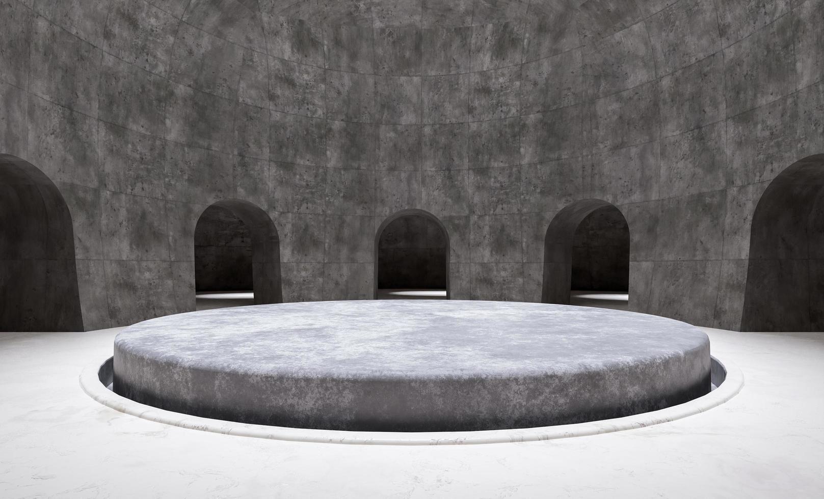 minimalt cirkulärt produktpodium i ett tomt rum foto