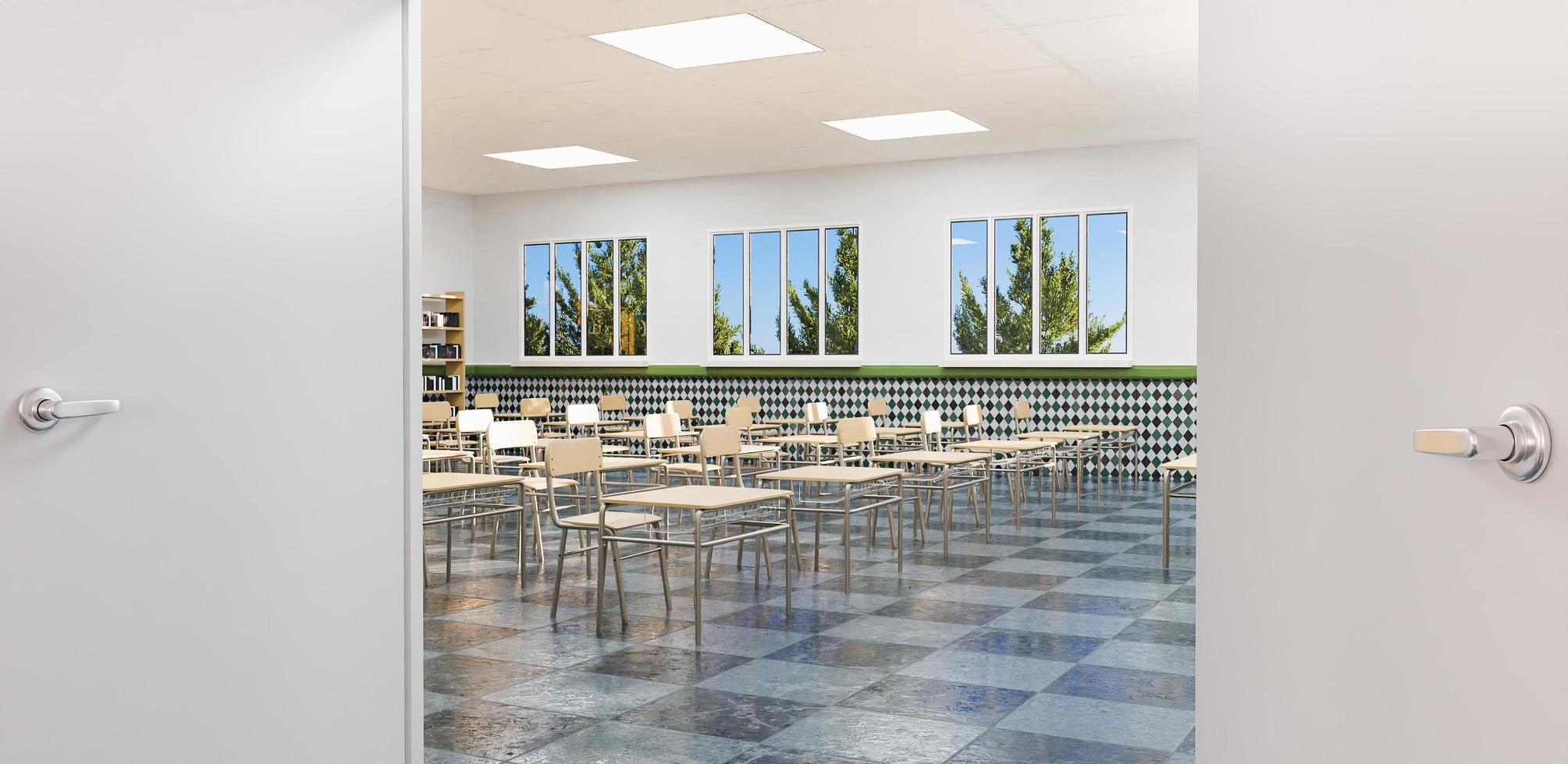 klassrum sett från entrédörren foto