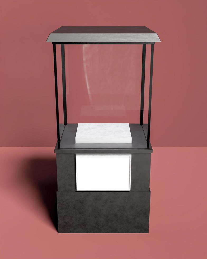 fyrkantig utställning med glas för produktvisning foto