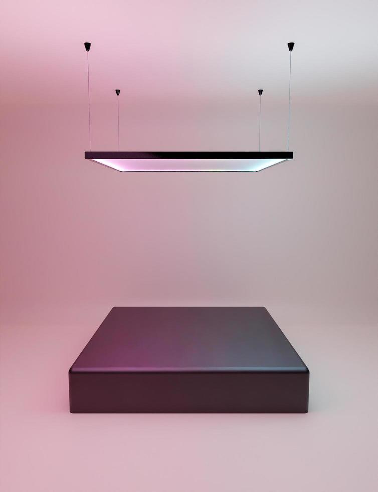 produkt displaystativ med fyrkantig neonlampa foto