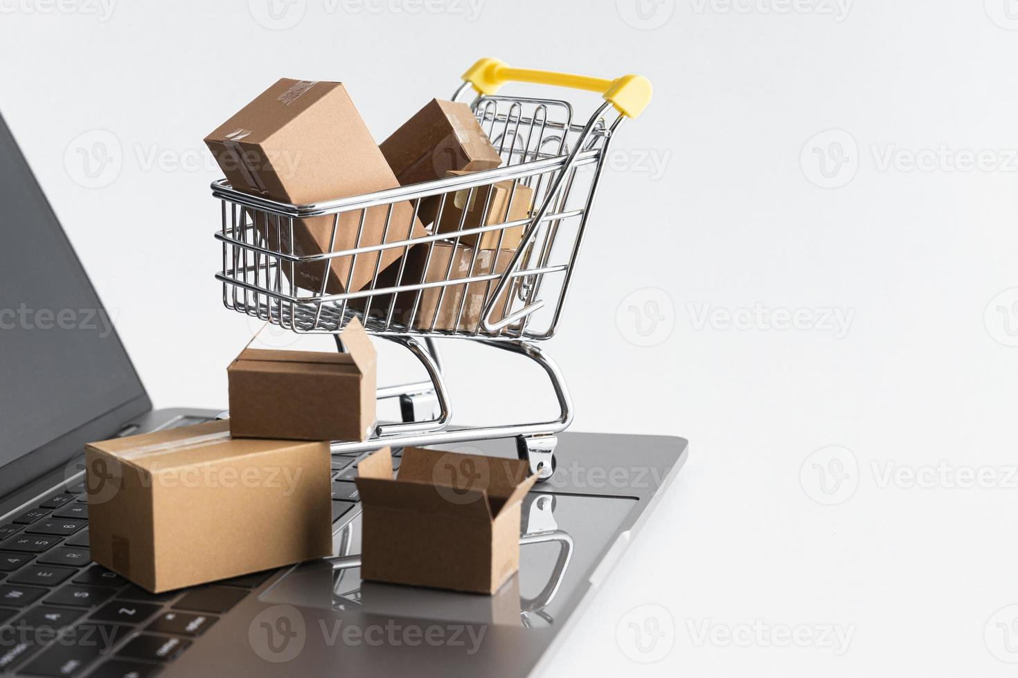 cyber måndag shopping försäljning koncept på vit bakgrund foto