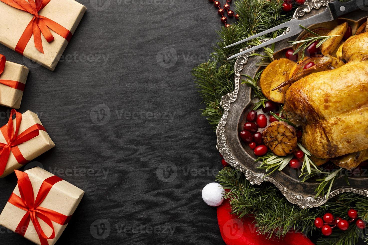 platt läckra julmat sortiment med kopia utrymme foto