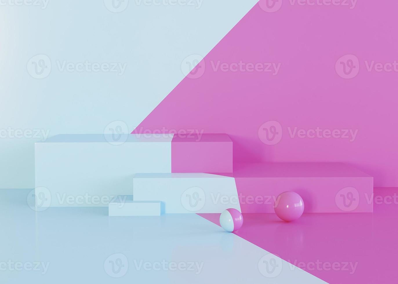 geometriska former bakgrund av rosa och ljusblå toner foto