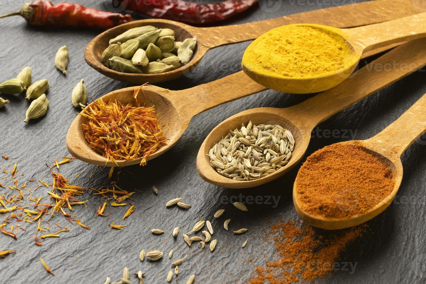 högvinklade indiska kryddor med skedar foto