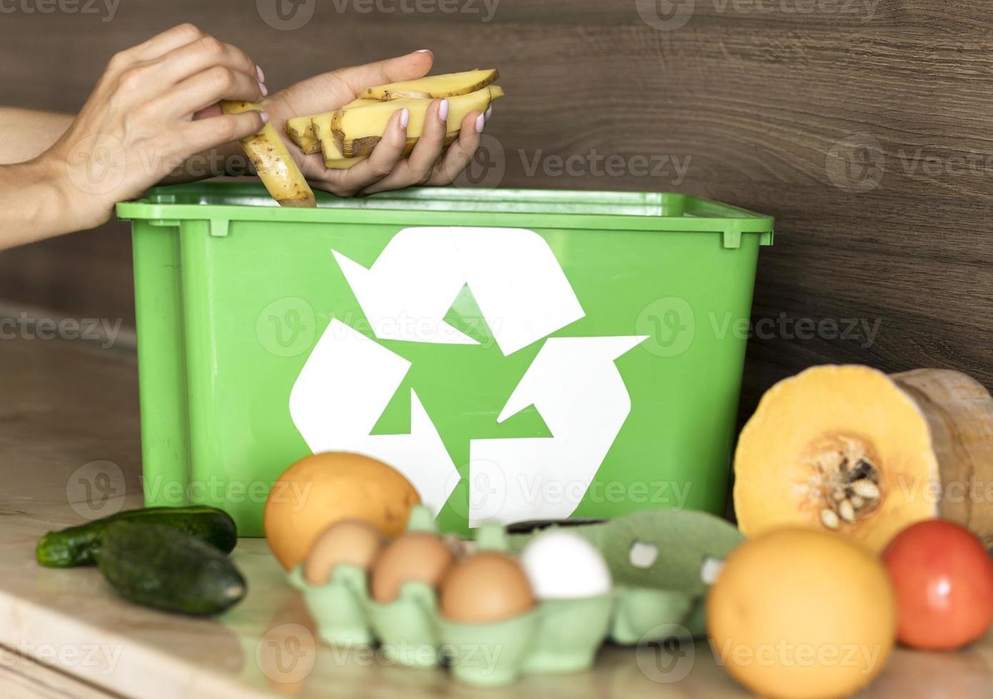 individuell återvinning av ekologiska grönsaker foto